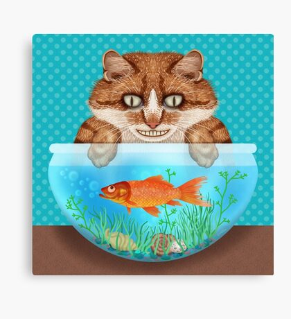 Cat with Goldfish Bowl Funny Hungry Grinning Kitty Canvas Print
