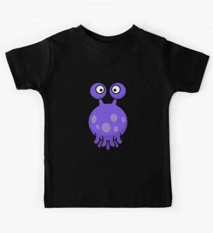 Strange funny purple monster with tentacles cartoon Kids Tee