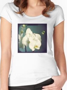 White orchids Women's Fitted Scoop T-Shirt