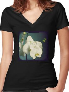 White orchids Women's Fitted V-Neck T-Shirt