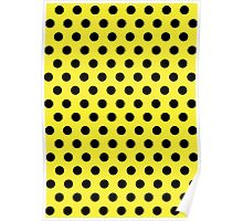Polkadots Yellow and Black Poster