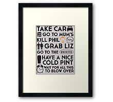 SHAUN OF THE DEAD THE PLAN Framed Print