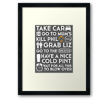SHAUN OF THE DEAD THE PLAN TO TO LIST Framed Print