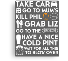 SHAUN OF THE DEAD THE PLAN TO TO LIST Canvas Print