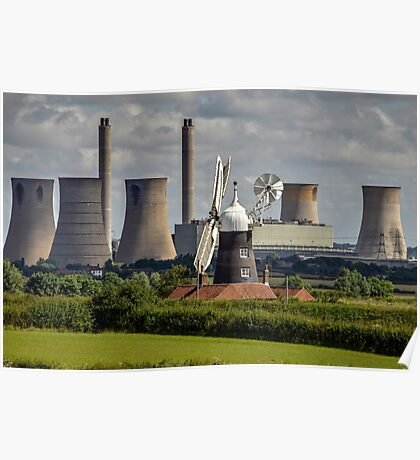 Leverton Windmill and West Burton Power Station Poster