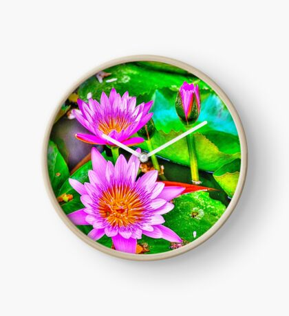 Pink Water Lilies Clock