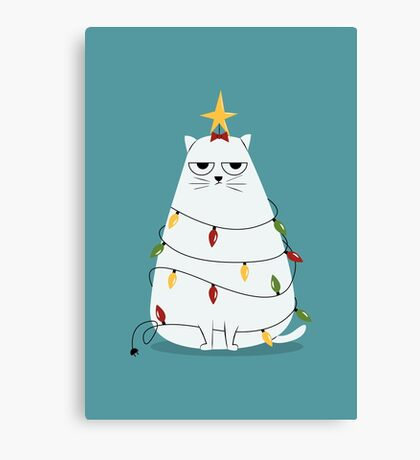 Grumpy Christmas Cat Canvas Print