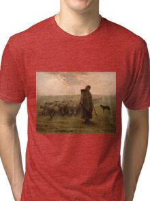 Shepherdess and Her Flock - Jean-François Millet - 1862 Tri-blend T-Shirt