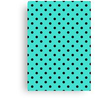 Polkadots Black and Turquoise Canvas Print