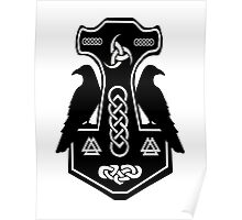 Pagan Thor's Hammer with Celtic Knots Poster