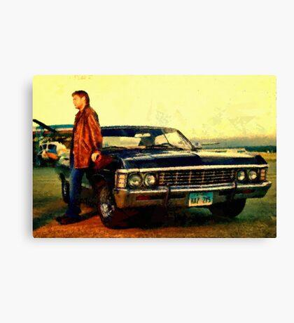 supernatural tv dean baby impala fan art Canvas Print
