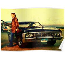supernatural tv dean baby impala fan art Poster