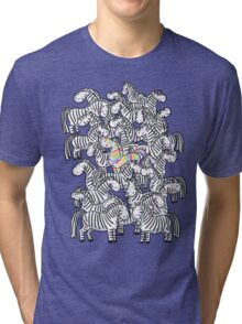 Dare to be different - rainbow zebra  Tri-blend T-Shirt