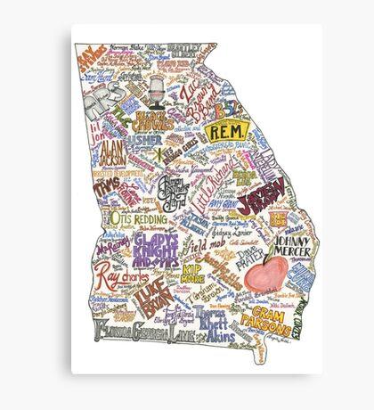 Georgia Music Map Canvas Print