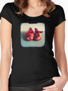 Tiny toes - red chinese baby shoes Women's Fitted Scoop T-Shirt