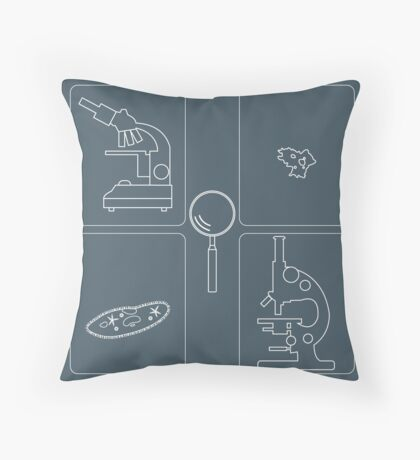 Stylized icons of microscopes, magnifier, amoeba, ciliate-slipper. Laboratory equipment symbol.  Throw Pillow