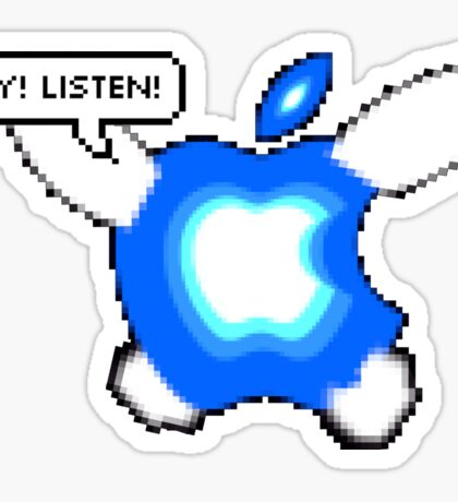 Hey! Listen! Apple Logo Sticker