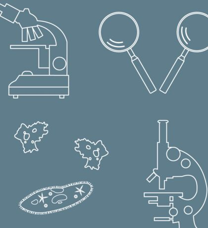 Stylized icons of microscopes, magnifiers, amoeba, ciliate-slipper. Laboratory equipment symbol.  Sticker