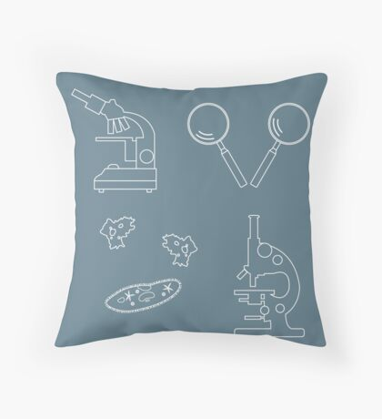 Stylized icons of microscopes, magnifiers, amoeba, ciliate-slipper. Laboratory equipment symbol.  Throw Pillow