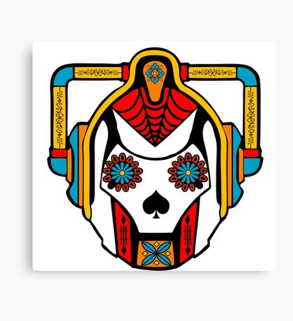 Cyberman Sugarskull Canvas Print