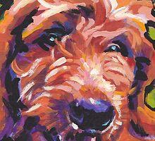 Red Golden Doodle Dog Bright colorful pop dog art by bentnotbroken11