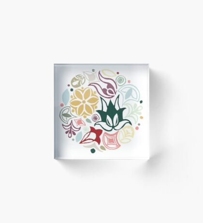 Colourful little bouquet of imaginary flowers Acrylic Block