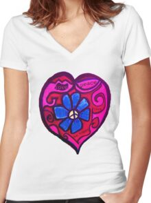 Peace, Love and Be Happy Women's Fitted V-Neck T-Shirt