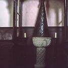 Baptismal font St Thomas church 1189 Monmouth Wales 198405180051  by Fred Mitchell