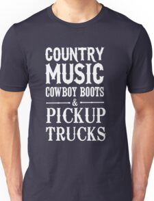 Country Music Cowboy boots and Pickup Trucks Unisex T-Shirt
