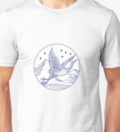 Great Blue Heron Flying Circle Mono Line Unisex T-Shirt