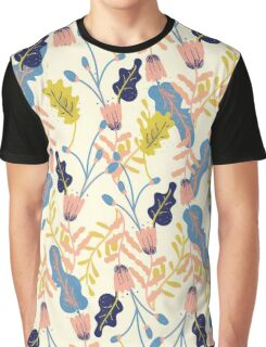 Pastel Retro Floral Pattern Graphic T-Shirt