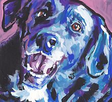 Borador border collie lab mix Bright colorful pop dog art by bentnotbroken11