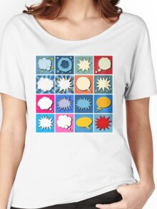 Big Set of Comics Bubbles in Pop Art Style Women's Relaxed Fit T-Shirt