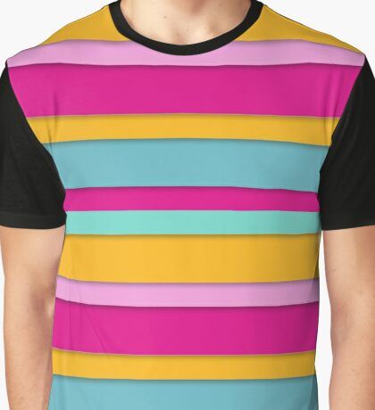 colorful horizontal stripes with shadows Graphic T-Shirt