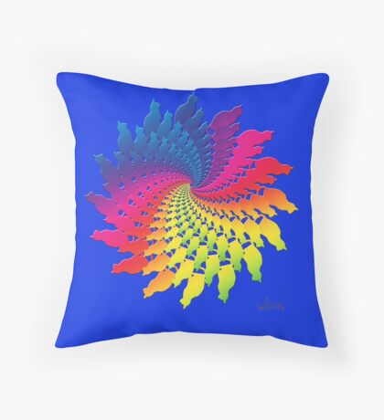 Colorful Cat Fractal 11117 Throw Pillow