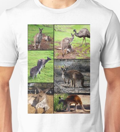 Aussie Kangaroos In A Photo Collage Unisex T-Shirt