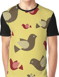 yellow pattern background with colorful flying pigeons Graphic T-Shirt