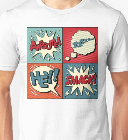 Set of Comics Bubbles in Pop Art Style. Expressions Awesome, Hey, Smack, Zzz Unisex T-Shirt