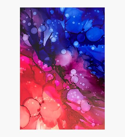 Alcohol Ink - blue, magenta, red Photographic Print