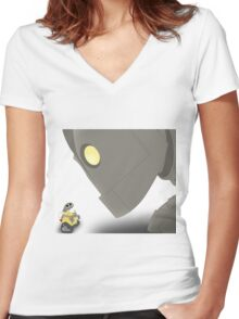Iron Giant Meets WALL-E Women's Fitted V-Neck T-Shirt