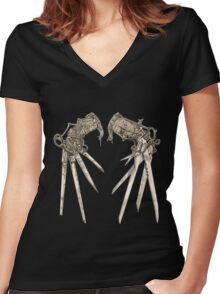 Scissorhands - Sepia   Women's Fitted V-Neck T-Shirt