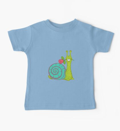 Snail and red rose Baby Tee