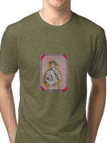 Zeichnung: Mann mit Zigarette und Guitarre  Tri-blend T-Shirt