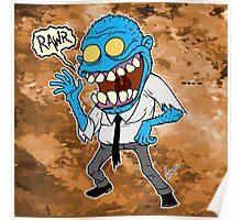 Frisky Blue Zombie Poster