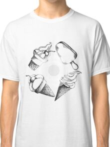 hand drawn pattern with different types of ice cream Classic T-Shirt
