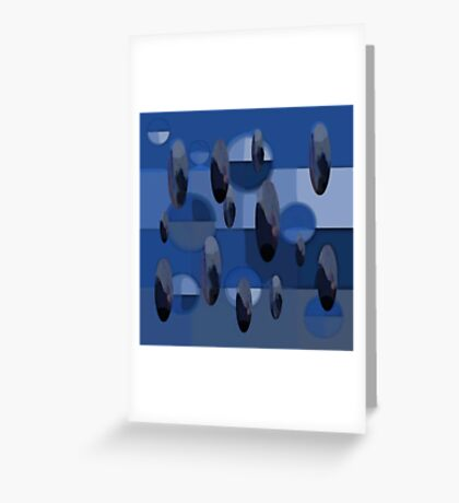 Abstract Orbs and Ovals in Blues and Grays Greeting Card