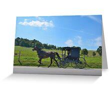 Amish Buggy Blue Skies Greeting Card