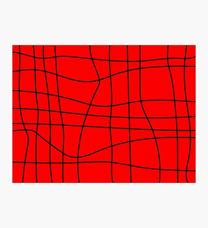 Red Squiggly Grid Photographic Print