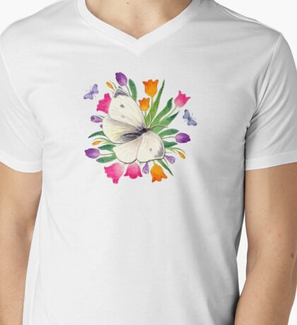 Tulip Field Mens V-Neck T-Shirt