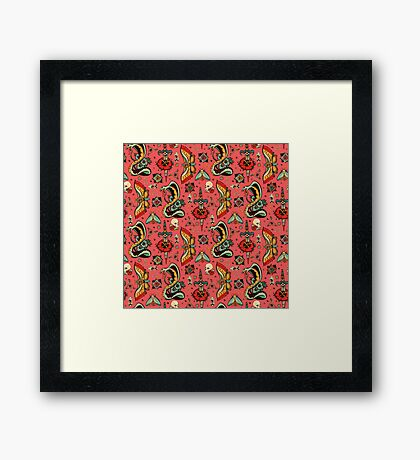 Pink Flash Tattoo Pattern Framed Print